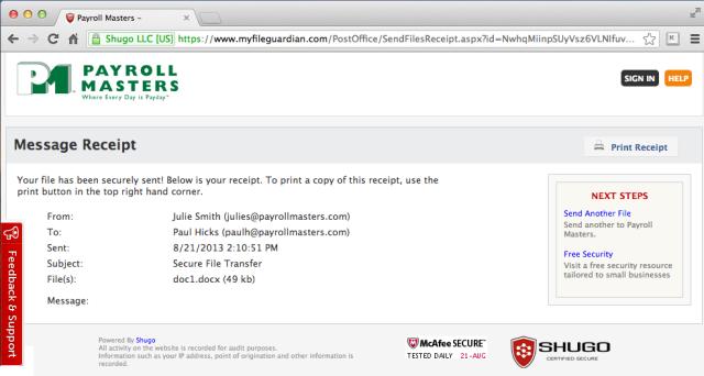 fileconfirmation page